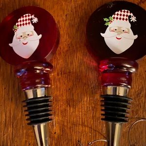 Two Santa Wine Stoppers and Wine Glass Tags